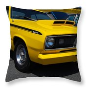 Yellow Plymouth Duster Throw Pillow