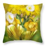Yellow Poppies In Poppy Vase Throw Pillow