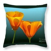 Yellow Poppies Throw Pillow