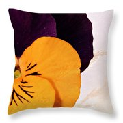 Yellow Purple Pansy Throw Pillow