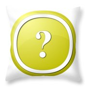 Yellow Question Mark Round Button Throw Pillow