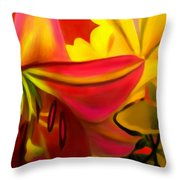 Yellow Red Kiss Throw Pillow
