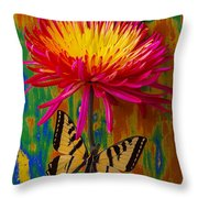 Yellow Red Mum With Yellow Black Butterfly Throw Pillow