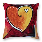 Yellow Red Orange Heart Love Painting Pop Art Love By Megan Duncanson Throw Pillow by Megan Duncanson