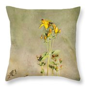 Yellow-red Wildflower With Texture Throw Pillow