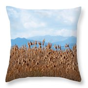 Yellow Reeds And Blue Mountains Throw Pillow
