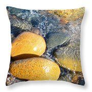 Yellow Rocks At Lake Shore Throw Pillow