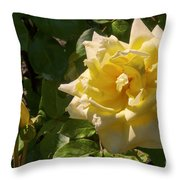 Yellow Rose And Bud Throw Pillow