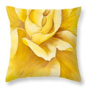 Yellow Rose Close Up Throw Pillow