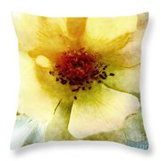 Yellow Rose Painted Throw Pillow