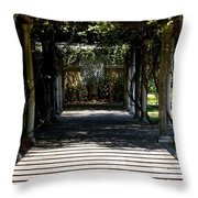 Yellow Rose Pergola Throw Pillow