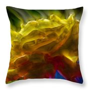 Yellow Rose Series - Colorful Fractal Throw Pillow