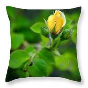 Yellow Rosebud Throw Pillow