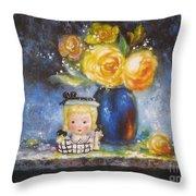 Yellow Roses And Headvase Girl Throw Pillow