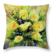 Yellow Roses Throw Pillow by Kathy Braud