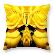 Yellow Roses Mirrored Effect Throw Pillow