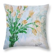 Yellow Roses Throw Pillow by Molly Roberts