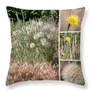 Yellow Salsify Collage Throw Pillow