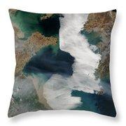 Yellow Sea - Satellite View Throw Pillow