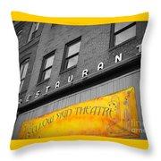 Yellow Sign Theatre Throw Pillow