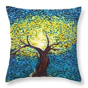 Yellow Squiggle Tree Throw Pillow