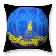 Yellow Submarine Baseball Square Throw Pillow