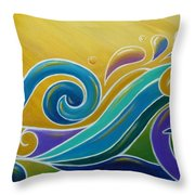 Yellow Sun Surf Throw Pillow