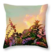 Yellow Sunrise With Flowers - Square Throw Pillow