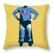 Yellow Superman Throw Pillow
