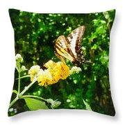 Yellow Swallowtail On Yellow Lantana Throw Pillow