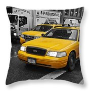 Yellow Taxi Color Pop Throw Pillow