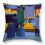 Yellow Taxi Throw Pillow