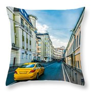 Yellow Taxi Of Moscow Throw Pillow