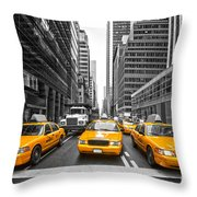 Yellow Taxis In New York City - Usa Throw Pillow