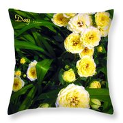 Yellow Tea Rose  Happy Mother's Day Throw Pillow