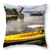 Yellow Tour Boat Throw Pillow
