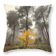Yellow Tree In The Foggy Forest Throw Pillow