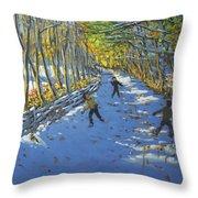 Yellow Trees  Allestree Park Throw Pillow