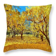 Yellow Trees Throw Pillow