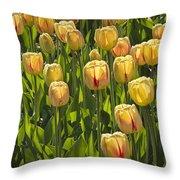Yellow Tulip Flowers On Windmill Island In Holland Michigan Throw Pillow