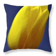 Yellow Tulip On Blue Background Throw Pillow