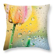 Yellow Tulip Reflecting In Water Drops Throw Pillow