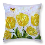 Yellow Tulips And Butterfly Throw Pillow