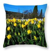 Yellow Tulips Before White Picket Fence Throw Pillow