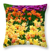 Yellow Tulips In Bloom Throw Pillow