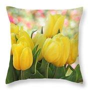 Yellow Tulips In The Spring Garden Throw Pillow