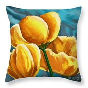 Yellow Tulips On Blue Throw Pillow