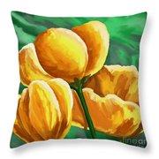Yellow Tulips On Green Throw Pillow