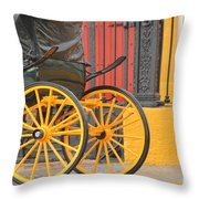 Yellow Wheeled Carriage In Seville Throw Pillow