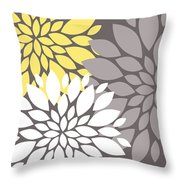 Yellow White Grey Peony Flowers Throw Pillow